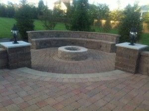 Love The Built In Bench Around The Fire Pit: Raised Paver Patio Monroe Nj  Masonry Contractor 08831