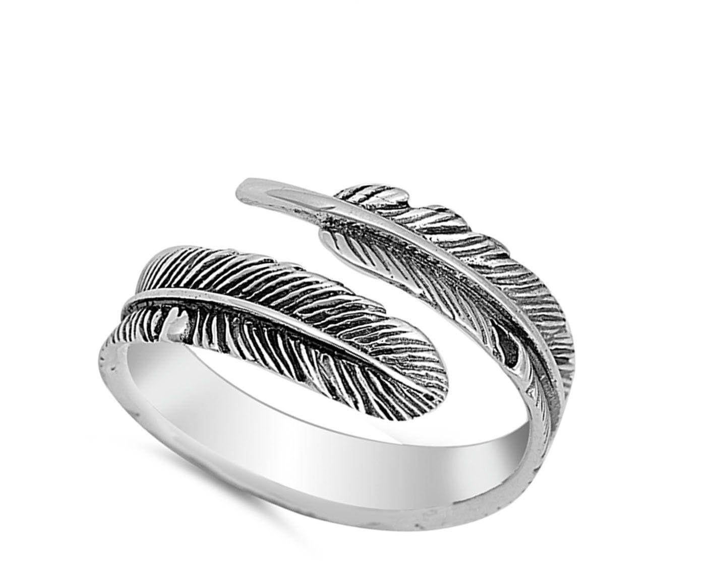 Open Oxidized Wrapped Leaf Ring New .925 Sterling Silver Feather Band Sizes 4-10