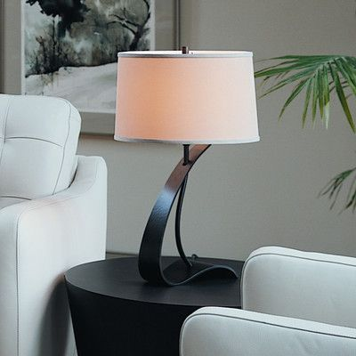 "Hubbardton Forge Impression 22.7"" Table Lamp Finish: Natural lron, Shade Color: Natural Linen, Shade Type: Conic"