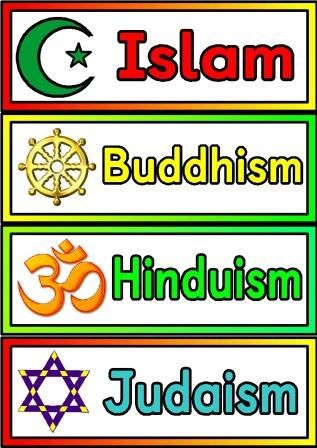 Free printable Religions Labels. Simple posters showing the 7 main ...