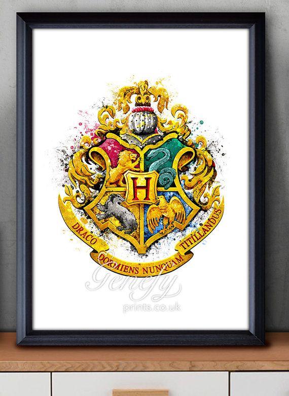Harry Potter Hogwarts Crest Watercolor Art Poster Print - Wall Decor ...