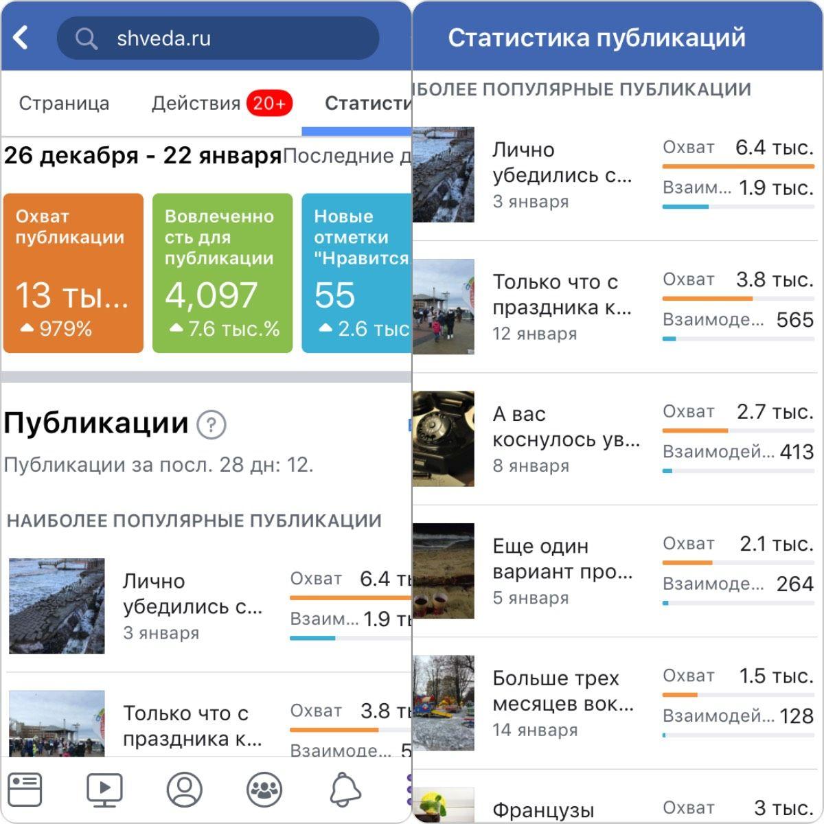 Рост просмотров страницы блога LiveAkaLive в Facebook