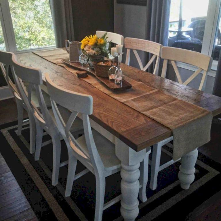 Best inspire farmhouse dining room table and decor ideas (58 ...