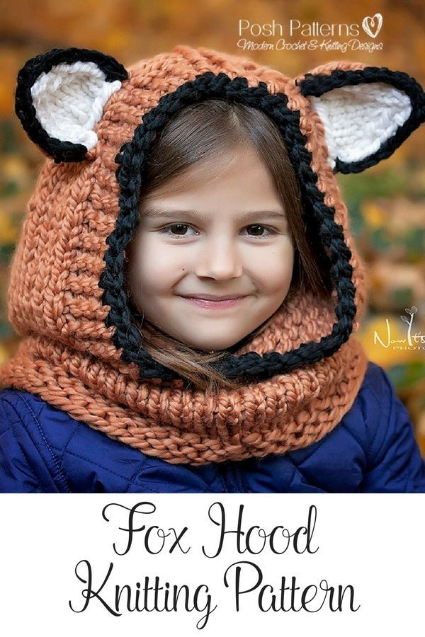 Knitting Pattern - Fox Hooded Cowl - Hooded Cowl - Hooded Fox Cowl ...
