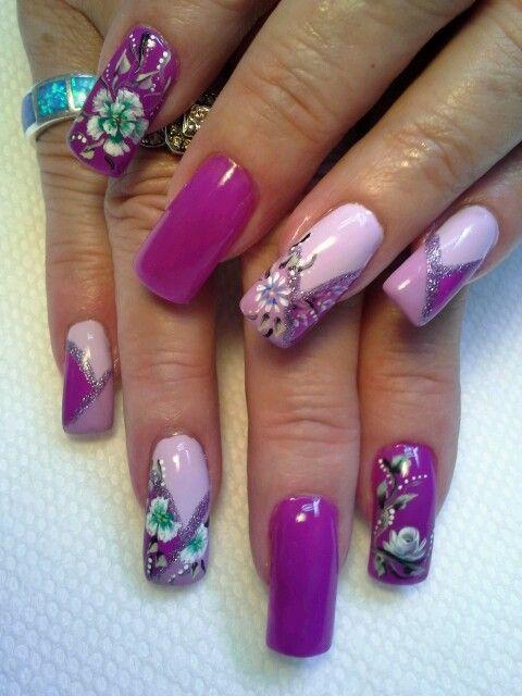 Fushia French manicure.