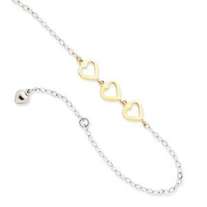 """14k Two-tone Adjustable Heart Anklet Length 10"""" Jewelry Adviser Bracelets. $238.06. 30 Days Returns. Up to 60% off Retail Prices. Free Gift Box. 14K Gold. Save 60% Off!"""