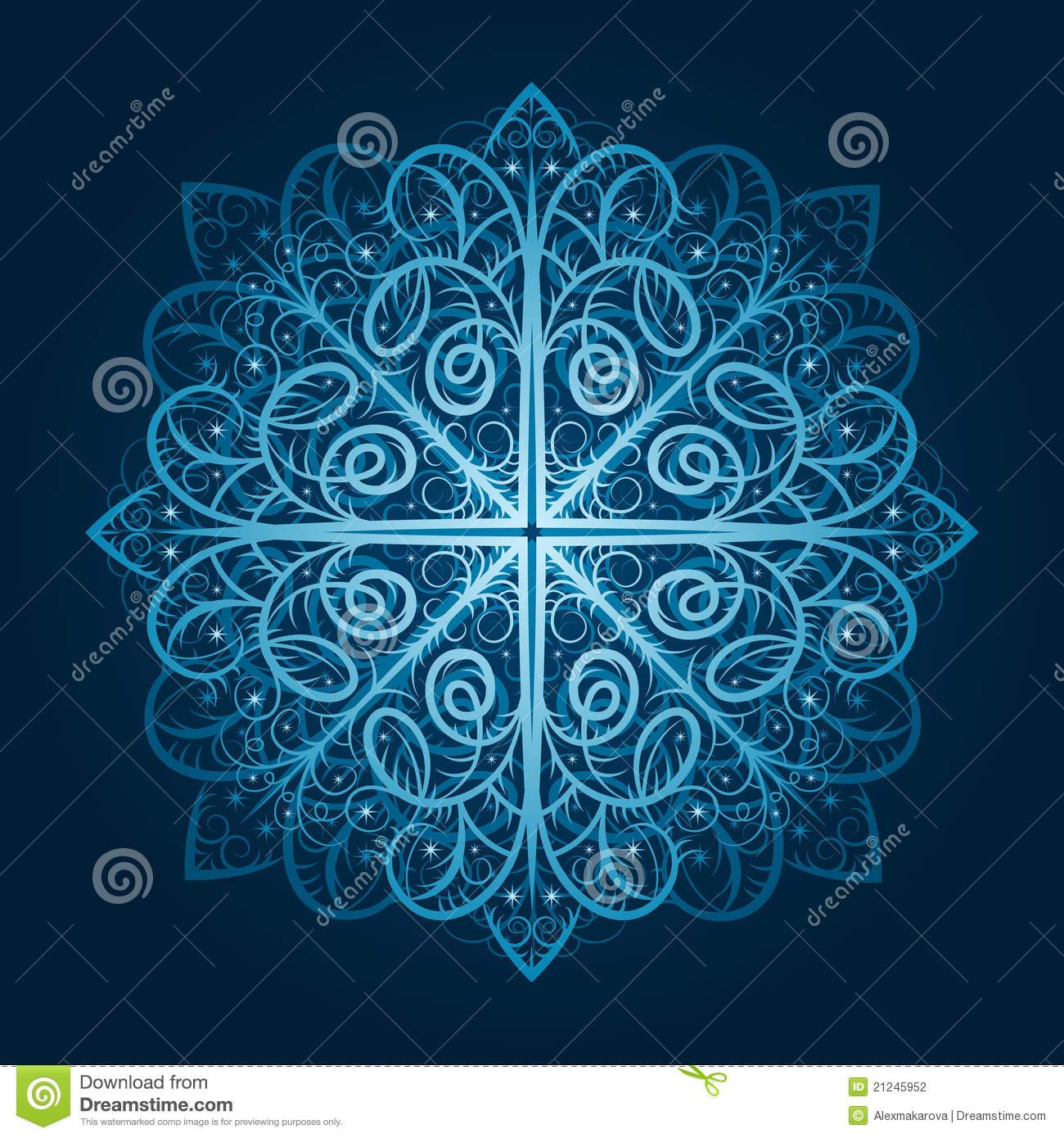 Highly detailed blue snowflake stock photography image