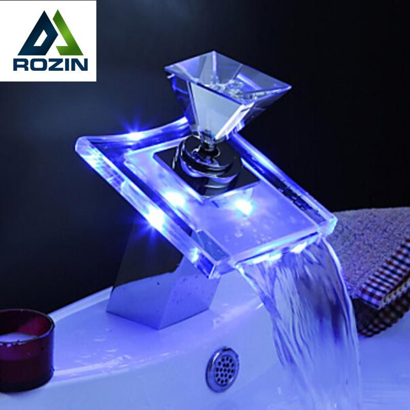Luxury Glass Waterfall Basin Faucet LED Color Changing Bathroom ...