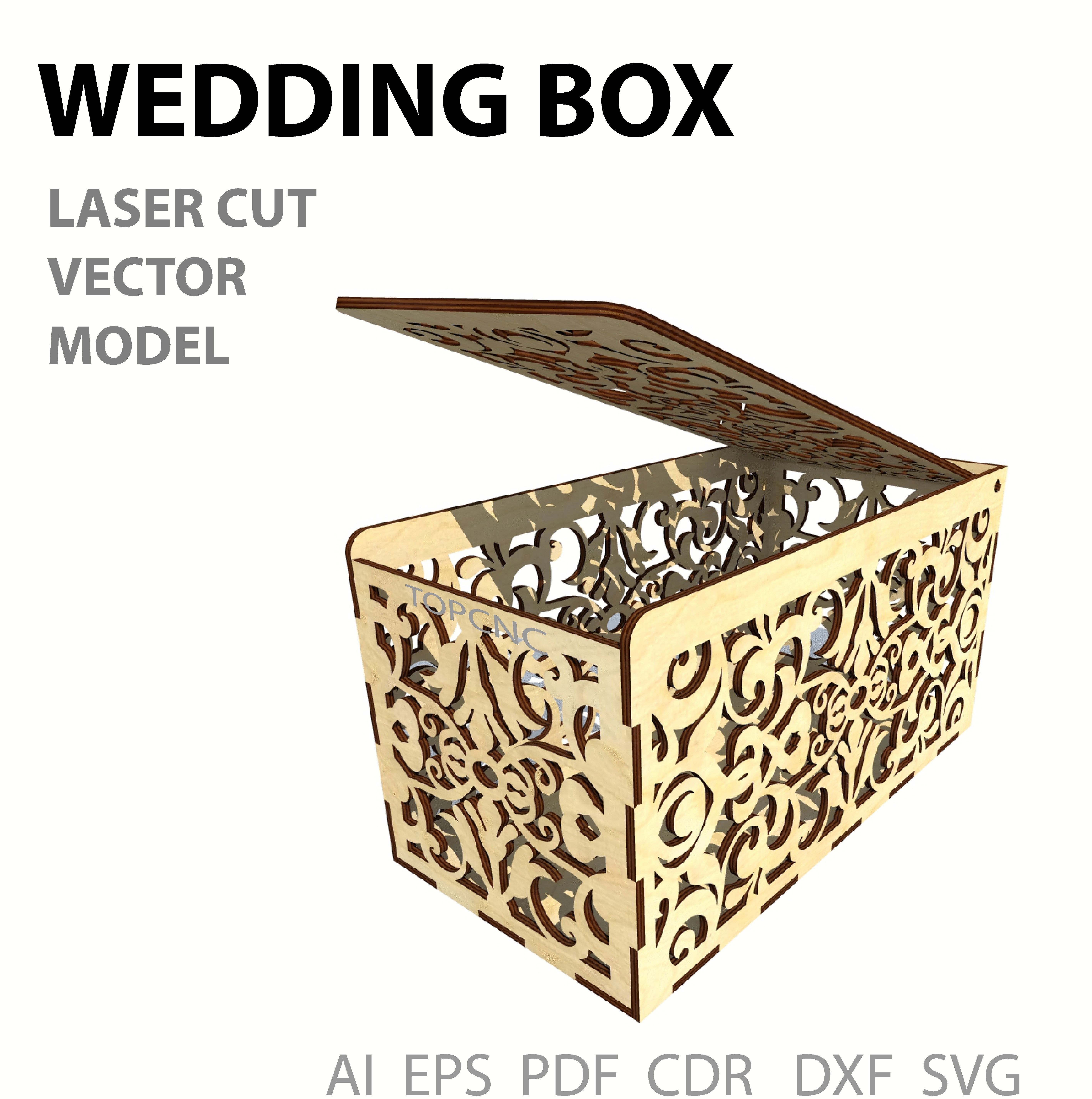 Wedding Card Box Drawing Money Casket Laser Cut Vector Model