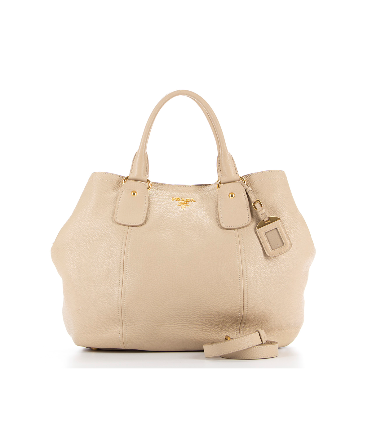 0db0b1dc69b5 PRADA Pre-Owned Prada Beige Pebbled Leather Extra Large Tote With Strap'. # prada #bags #canvas #tote #leather #lining #shoulder bags #hand bags #