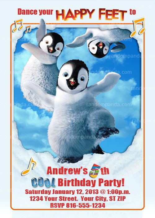 Happy Feet Party Invitation Penguin Birthday Invite