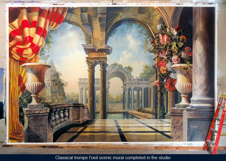 Classical italian trompe l 39 oeil scenic mural on fire rated for Deco trompe l oeil mural