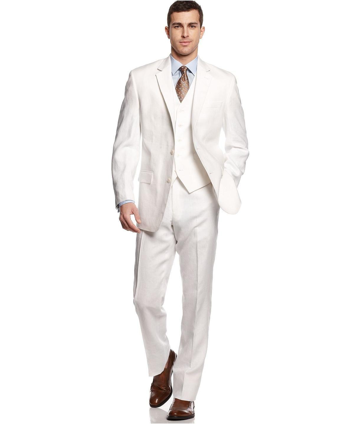 Michael michael kors suit white linen vested menus style suitable