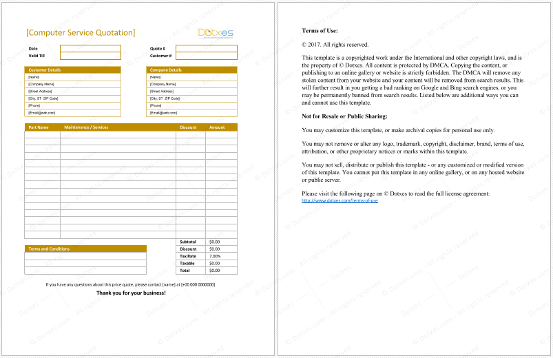 Computer Service Quotation Format For Excel Quotation Templates - Ms word custom invoice template for service business