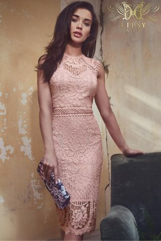 Pink Lipsy VIP All Over Lace Midi Dress  db0b53368