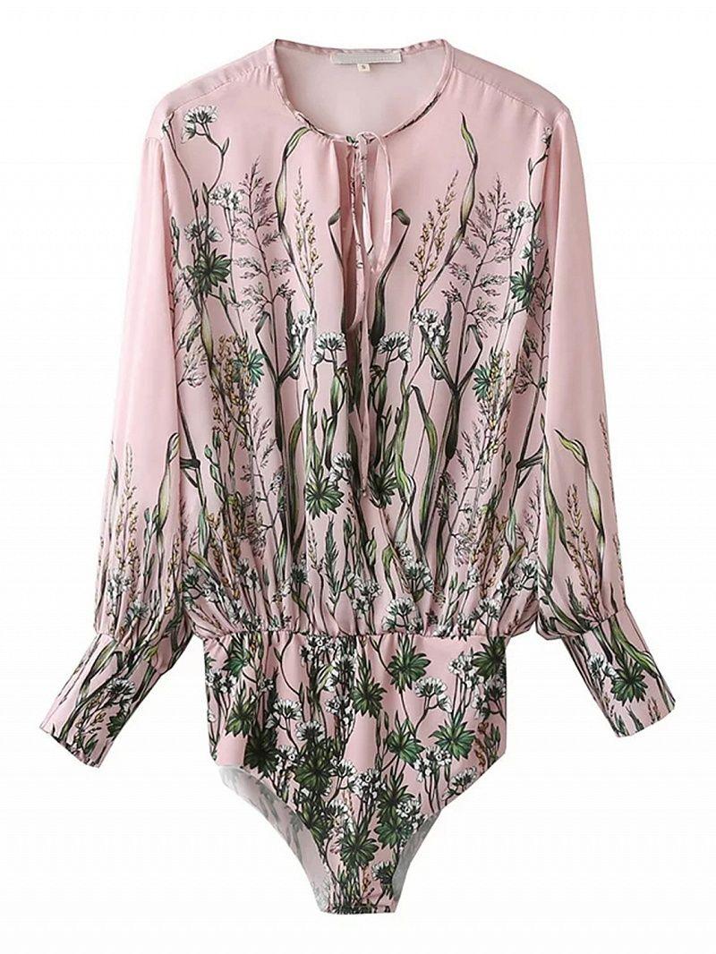 Pink tie front leaf print long sleeve bodysuit dresses tops