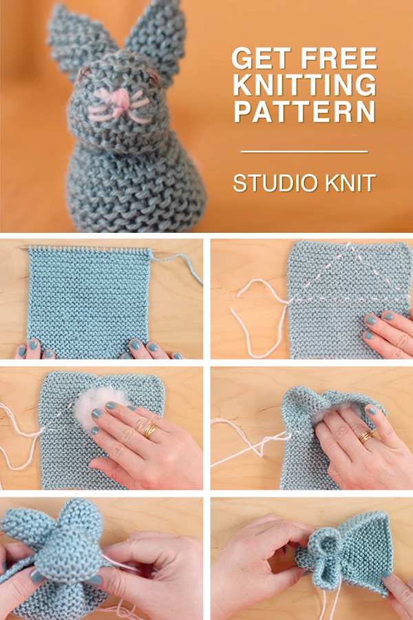 Easy Knit a Bunny from a Square Pattern