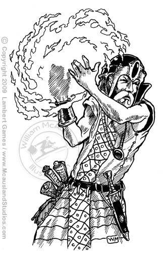 Wizard creating fireball by William McAusland,RPG Art