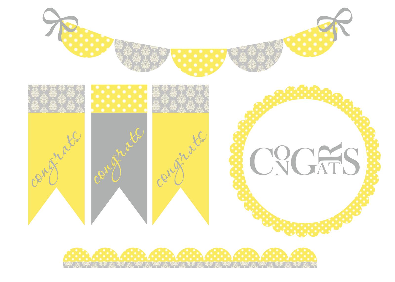 gray and yellow damask and polka dot pennant banner