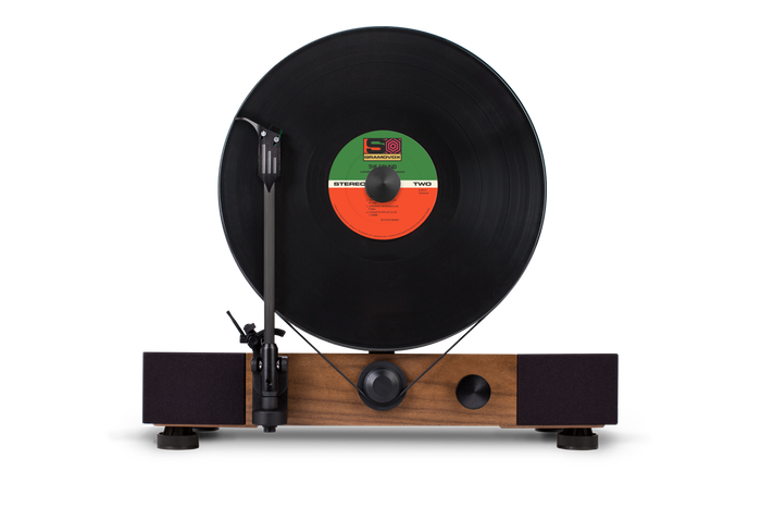 High Performance Vertical Turntable With Full Range Stereo Speakers