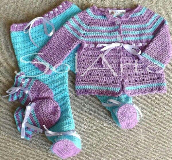 Ajuar de niña.  Crochet bebe. Ropa tejida.