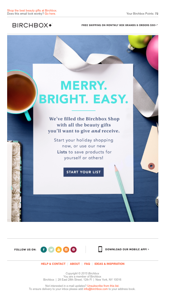 Birchbox holiday email example Email marketing design