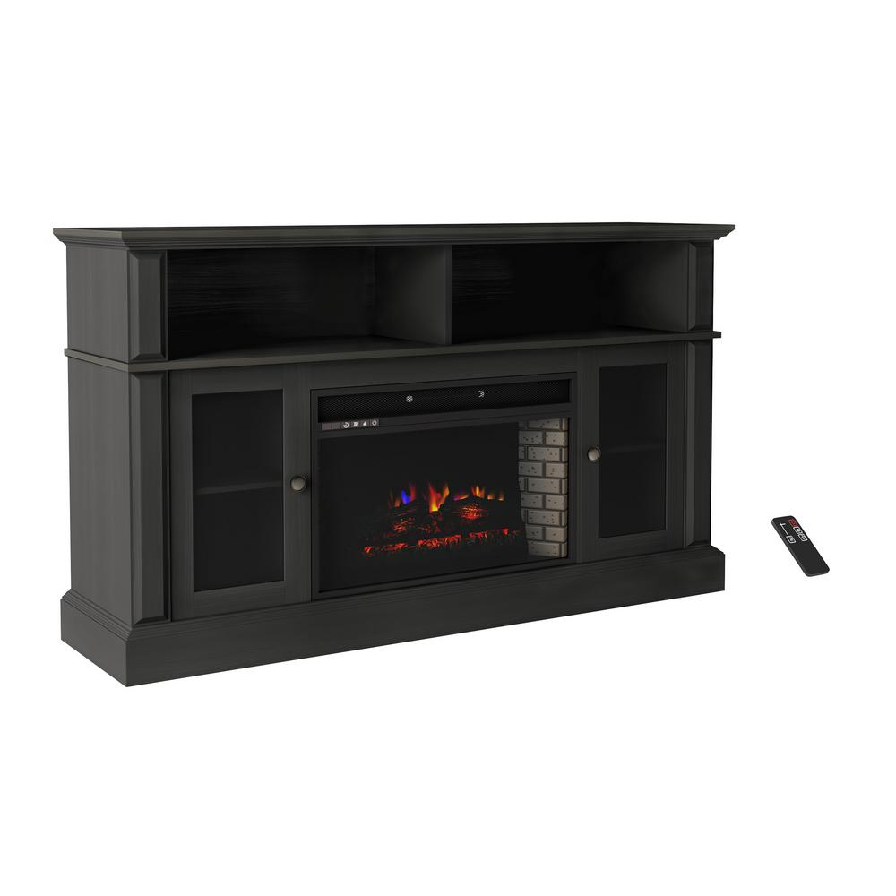 Northwest 59 In Freestanding Console Electric Fireplace Tv Stand In Woodgrain Black Hw0200155 The Home Depot Electric Fireplace Tv Stand Fireplace Tv Stand Fireplace Tv