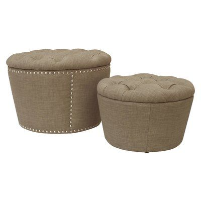 House of Hampton Selena 2 Piece Tufted Storage Ottoman Set Upholstery: Milford Dolphin