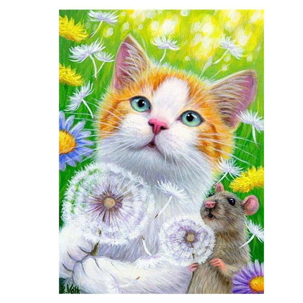 Diamond Painting Full Round Cat Mouse Dandelion Painting Cross Paintings Diamond Painting