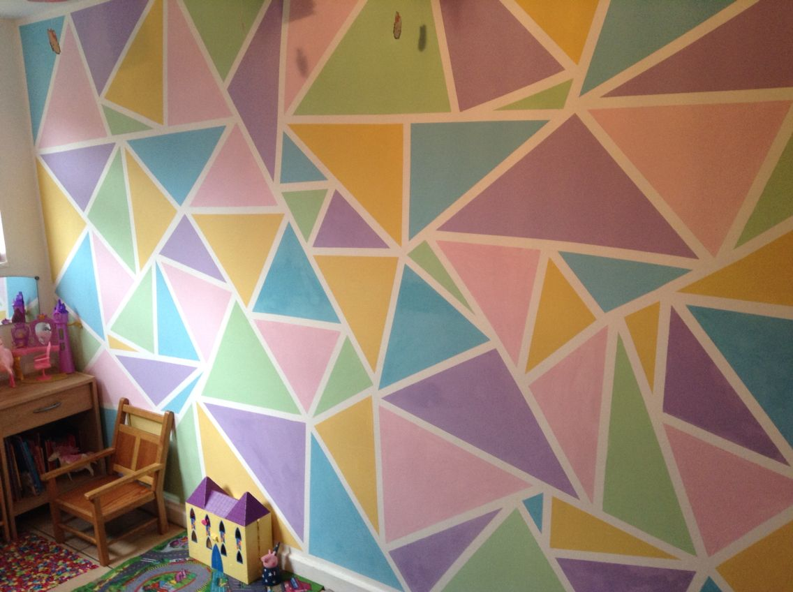 Kids Playroom Wall Done With Frog Tape And Match Pots Wall Paint