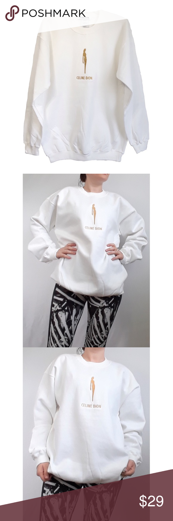 Celine Dion White Oversized Boyfriend Sweatshirt M Boyfriend Sweatshirts Sweatshirts White Long Sleeve [ 1740 x 580 Pixel ]