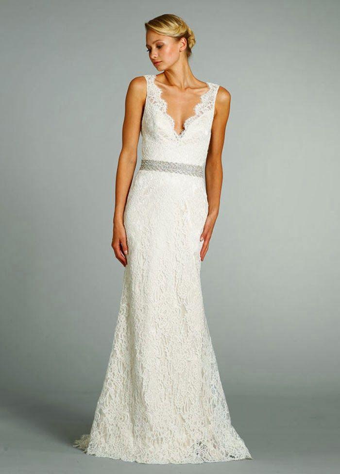 V Neck Simple Lace Wedding Dress