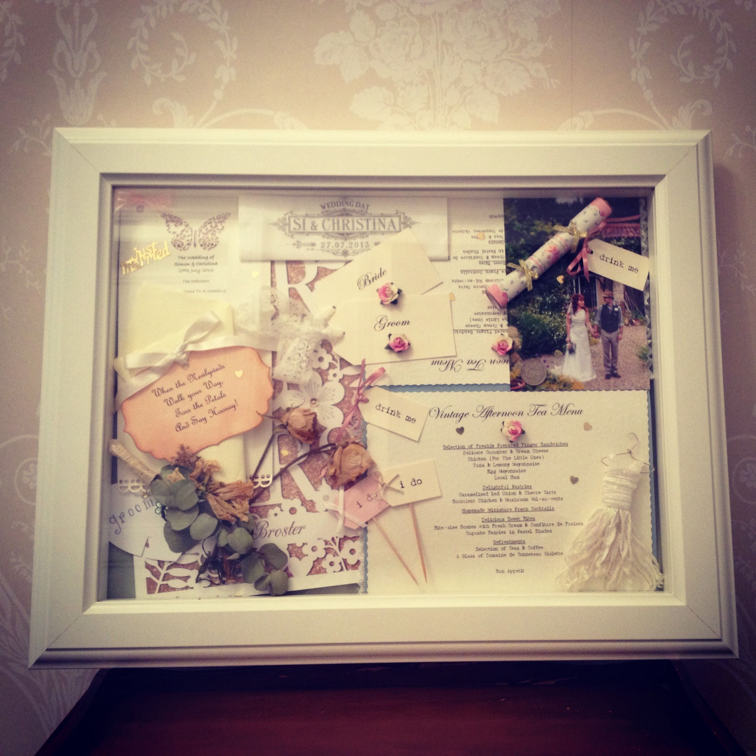 My finished wedding shadow box ready for hanging on the wall. Really ...