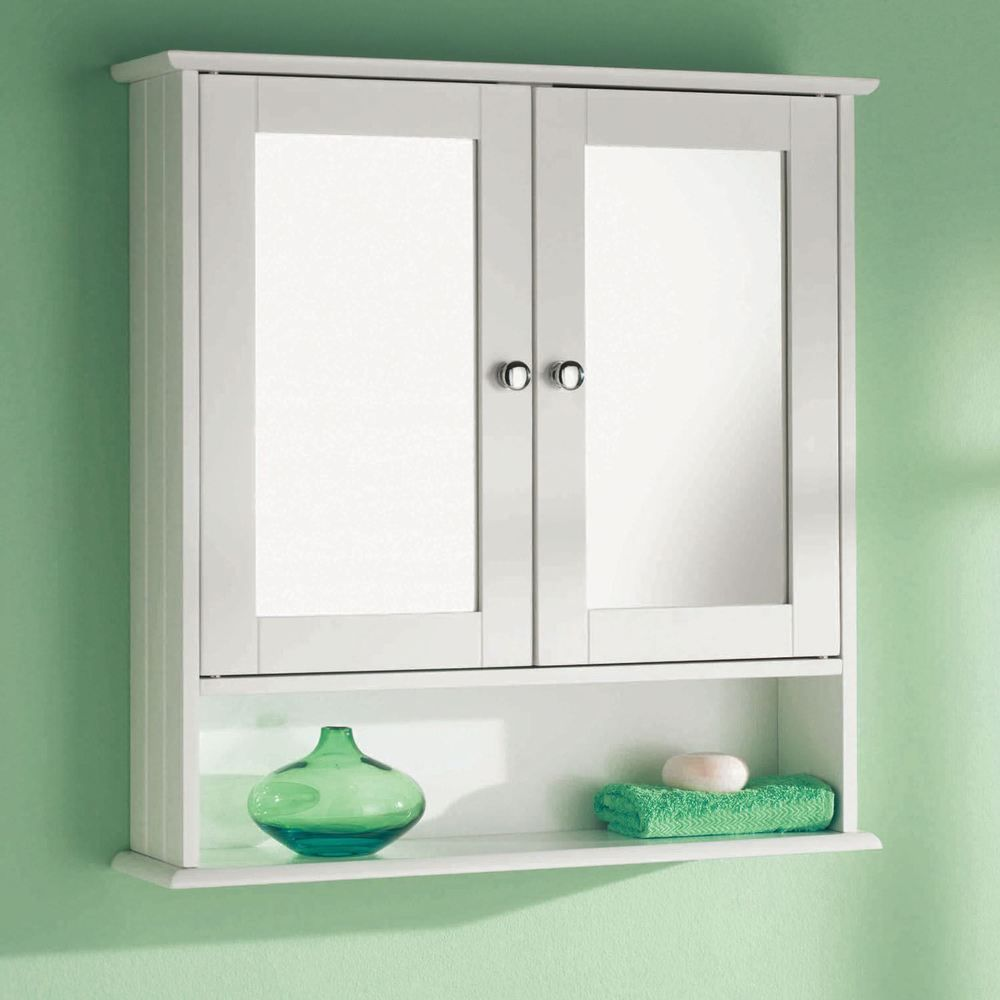 Wall Mounted White 2 Door Double Mirror Wooden Bathroom Cabinet ...