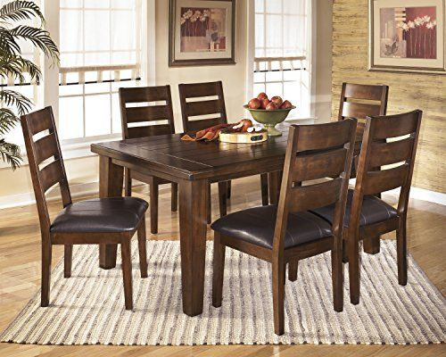 Lairecmont Casual Burnished Dark Brown Color Rectangular Dining