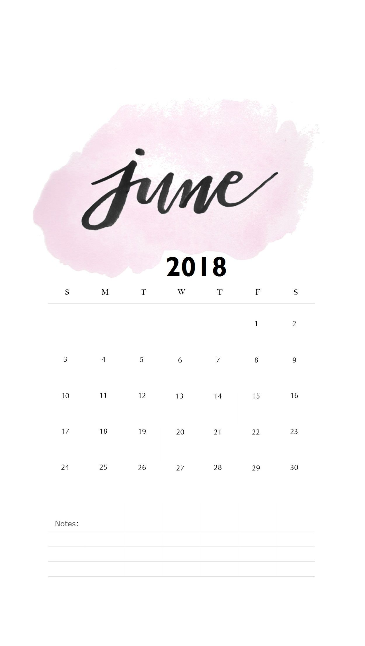Watercolor June 2018 iPhone Calendar | MaxCalendars | Calendar wallpaper, Calendar 2018 june ...