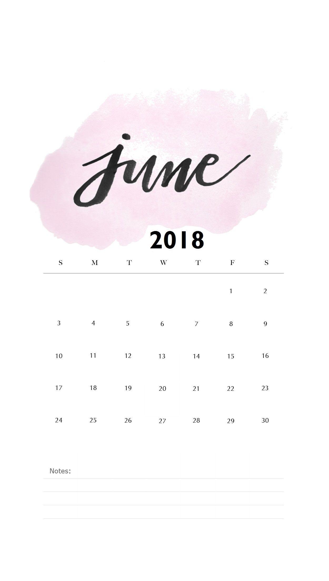 Watercolor June 2018 iPhone Calendar | MaxCalendars | Calendar wallpaper, Calendar 2018 june ...