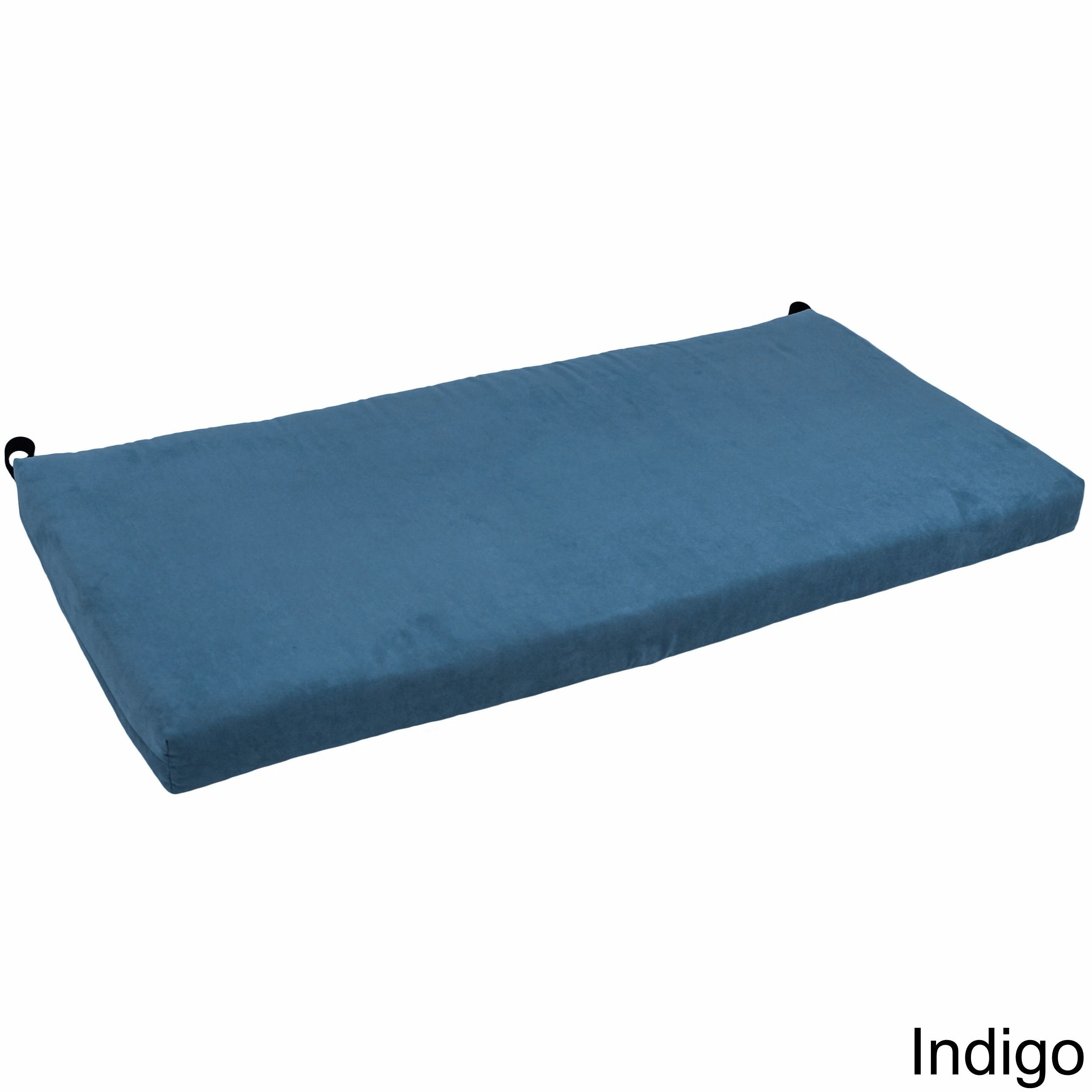 Blazing Needles 42 Inch Microsuede Indoor Bench Cushion Indigo Blue