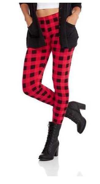 54fd28730ca CHRISTMAS Buffalo Check Plaid Leggings Black Red Cotton NEW XS S M L XL   NOBO