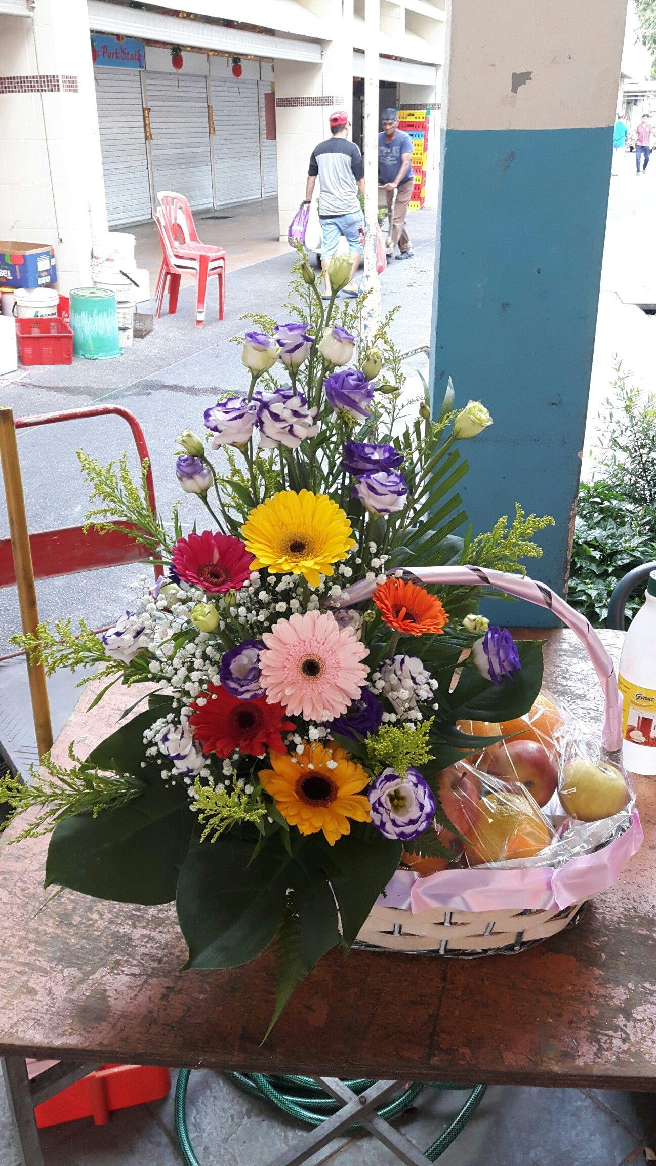 60 fruit flower basket gerberas and eustomas flower baskets 60 fruit flower basket gerberas and eustomas izmirmasajfo