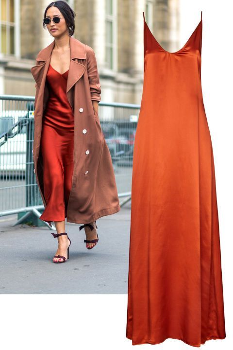 6b698f307df78 Nicole Warne in a red slip dress. Get ideas for a first date outfit from  these street style looks