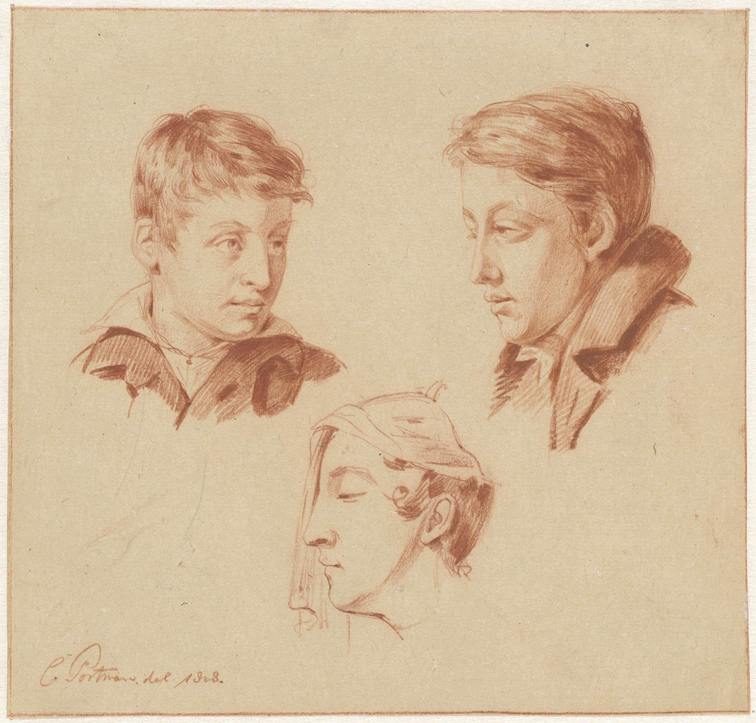 Christiaan Julius Lodewijk Portman   Studies van twee mannen- en een vrouwenhoofd, Christiaan Julius Lodewijk Portman, 1828  
