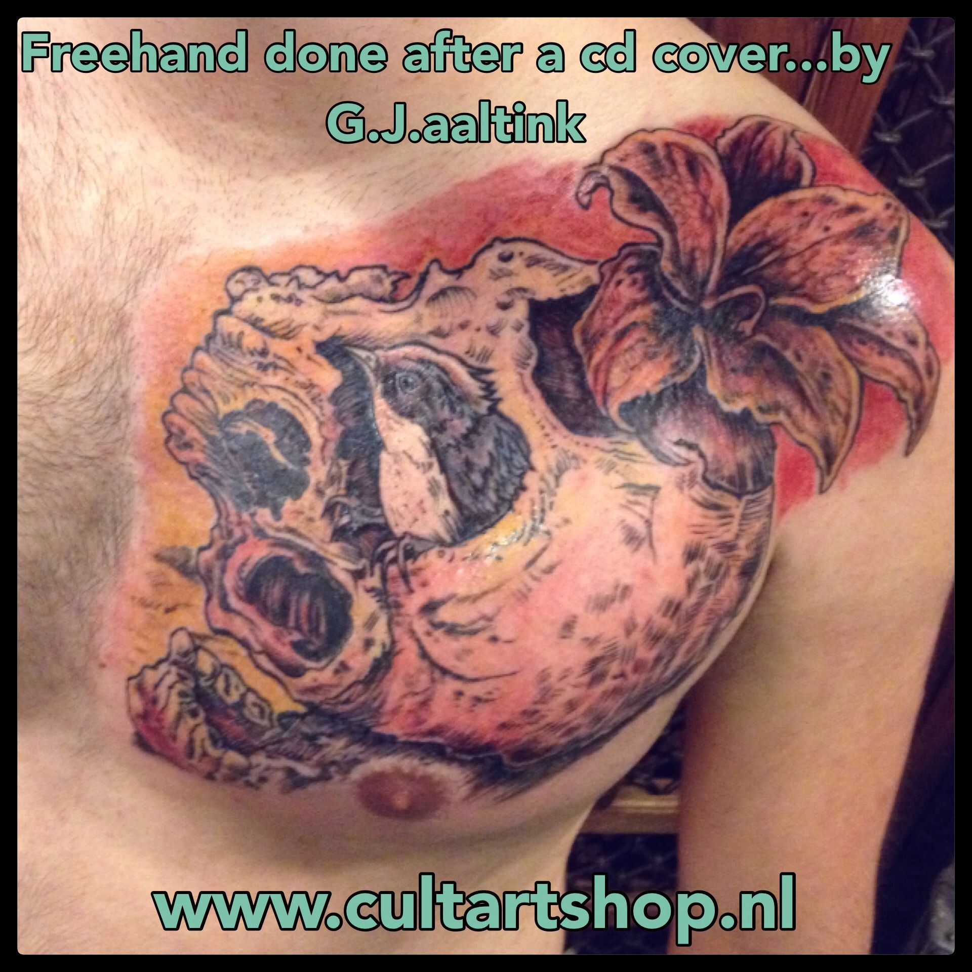 Cool piece...cd cover The Accasia Strain. I did it freehand so it would perfectly fit on his chest.! #tattoo #theaccasiastrain #cultart #gjaaltink #tattoonijverdal #zwolle