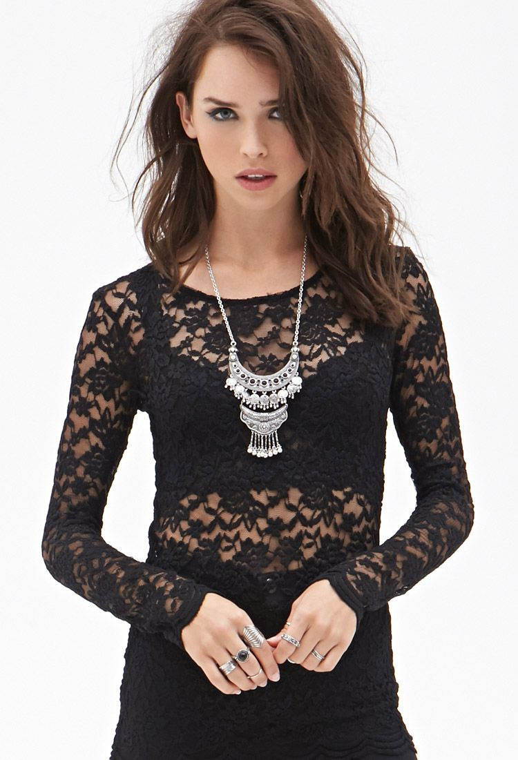 504f3d25e48 Sheer Floral Lace Top | Forever 21 - 2000122439 | Gothic Clothing ...