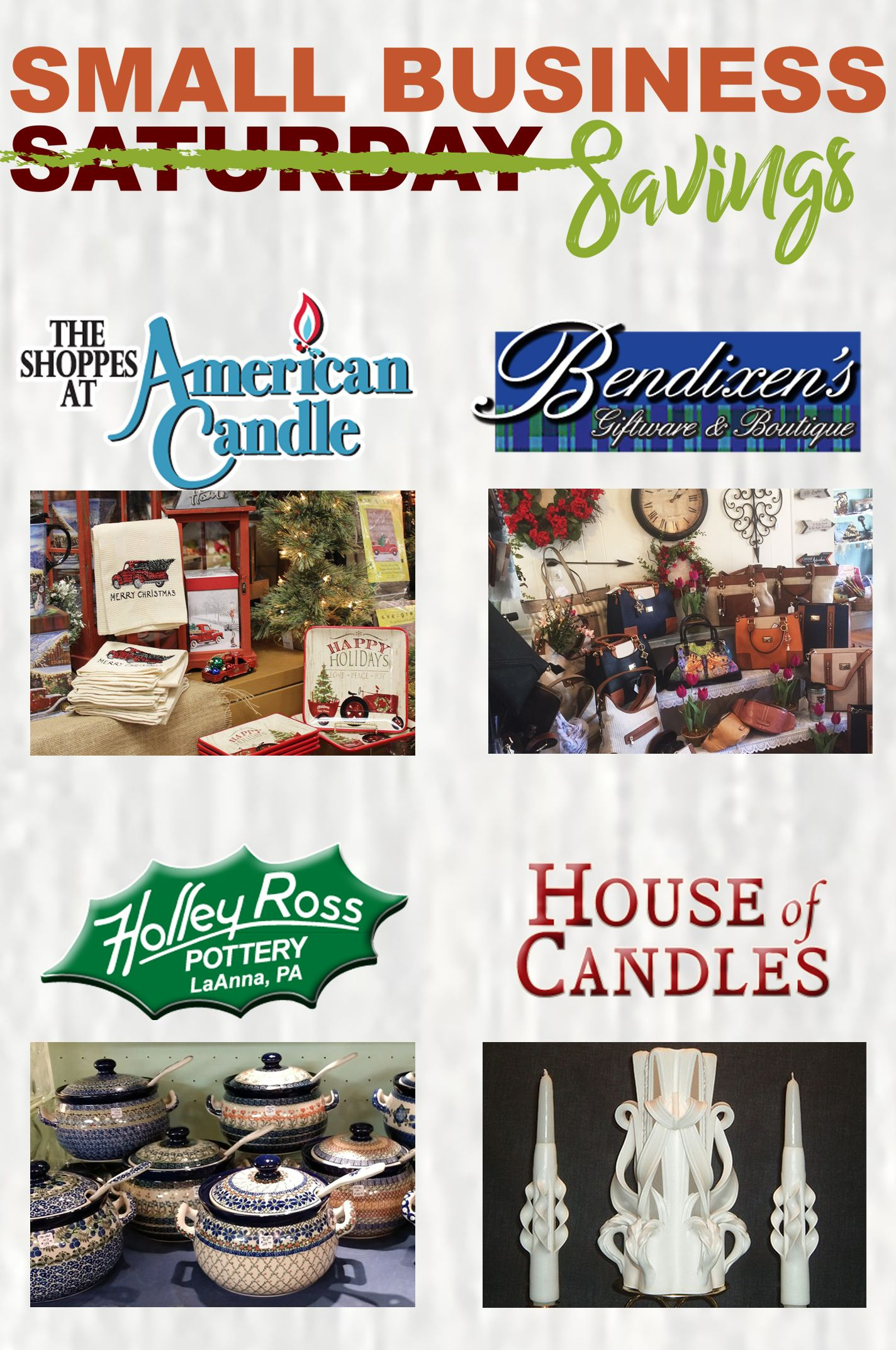 Small Business Saturday Savings American Candle Bendixens Holleyross Houseofcandles