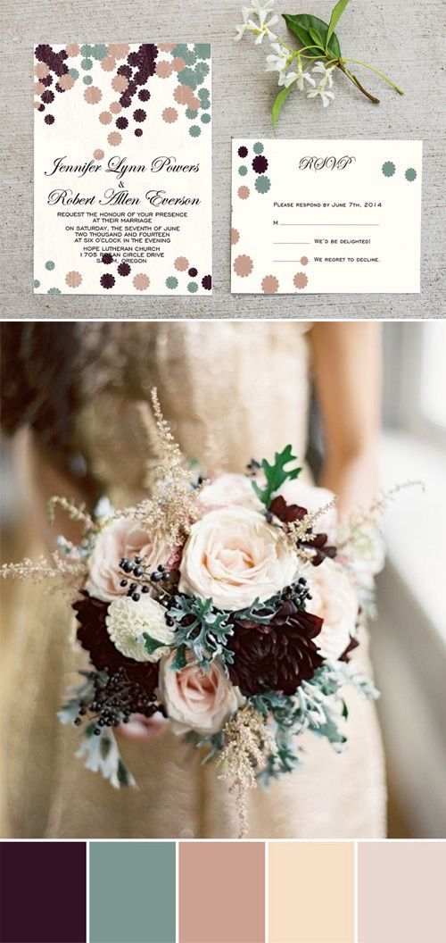 plum and sage green nude wedding colors inspired wedding ideas and invitations:
