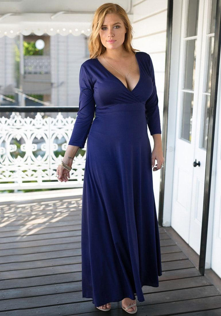 Navy blue surplice maxi dress products pinterest products