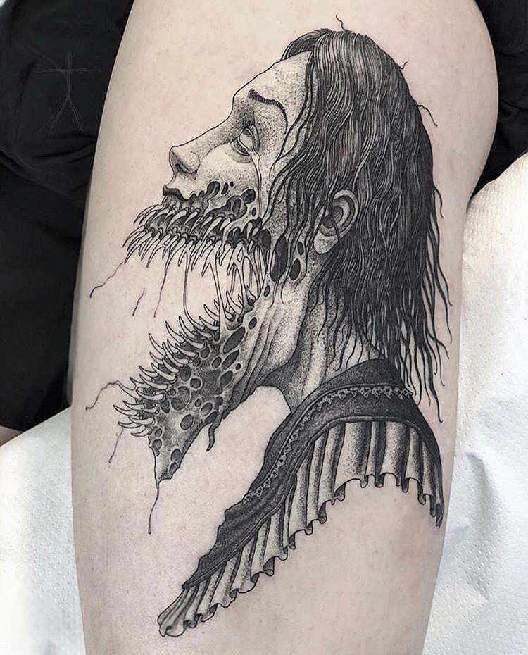 Art By Xcjxtattooer Darktattoo Legtattoo Blackworktattoo Blackwork Blacktattoo Blacktattoos Scary Tattoos Zombie Tattoos Japanese Tattoo