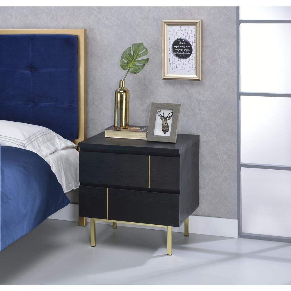 Benjara 2drawers black and gold wooden nightstand with