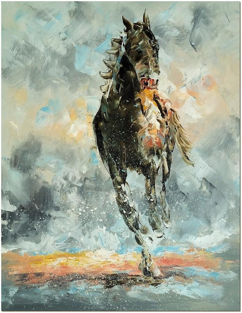 Abstract Horse Portrait Oil Painting Determination